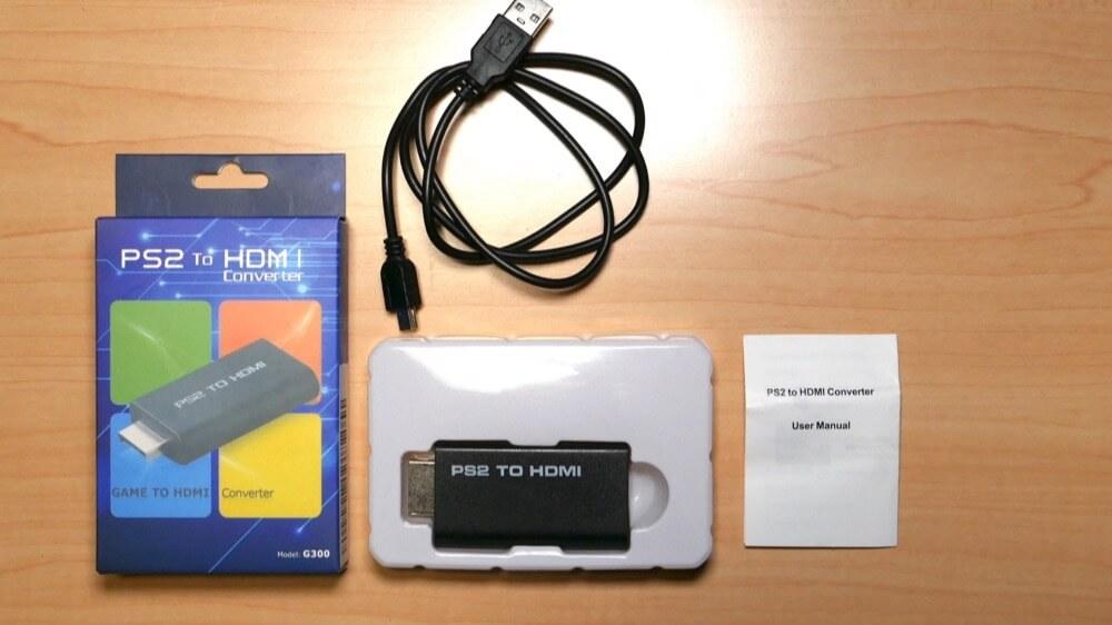 PS2 to HDMIコンバーターの外観と付属品