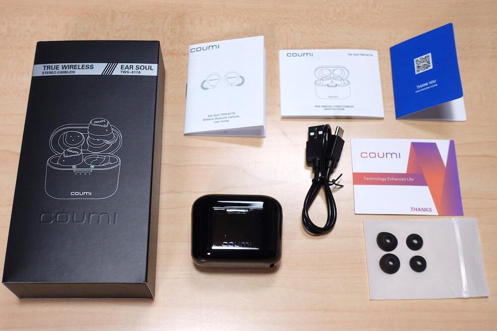 COUMI Ear Soul TWS-817Aの外観と付属品