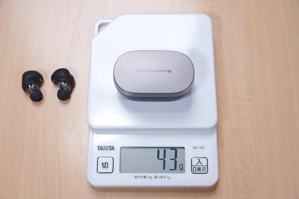 SOUNDPEATS H1のケースの重量は43g